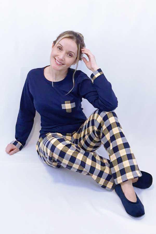 Pijama Feminino Blusa Suedine e Calça Flanela Xadrez