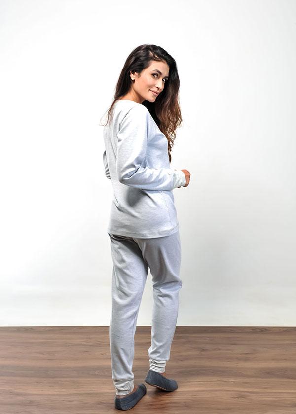 Pijama Feminino Branco Liso de Suedine