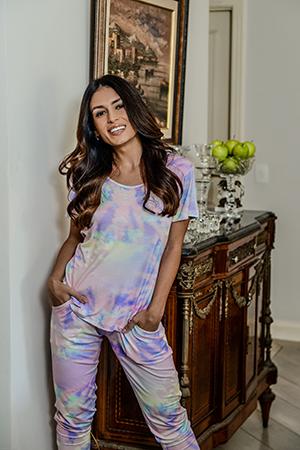 Pijama Feminino Calça Legging Tie Dye