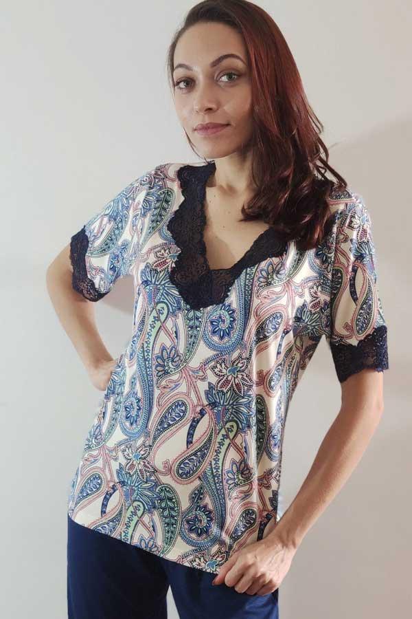 Pijama Feminino Cashmere com Renda em Viscolycra