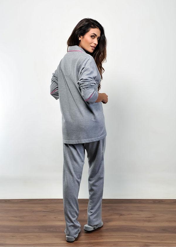 Pijama Feminino de Moletinho Felpado Mescla