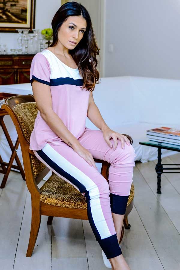 Pijama Feminino Legging Faixa 3 Cores
