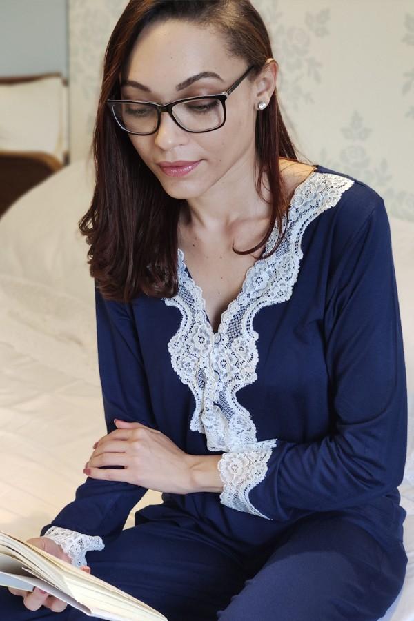 Pijama Feminino Longo 3 Botões com Renda - Azul Marinho