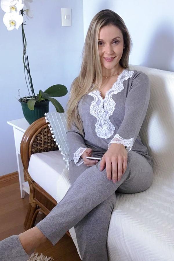 Pijama Feminino Longo 3 Botões com Renda - Mescla