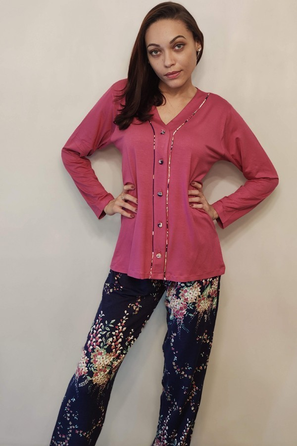 Pijama Feminino Longo Aberto em Viscolycra Floral