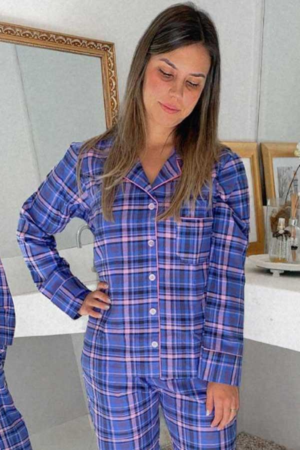 Pijama Feminino Longo Aberto Flanela Xadrez