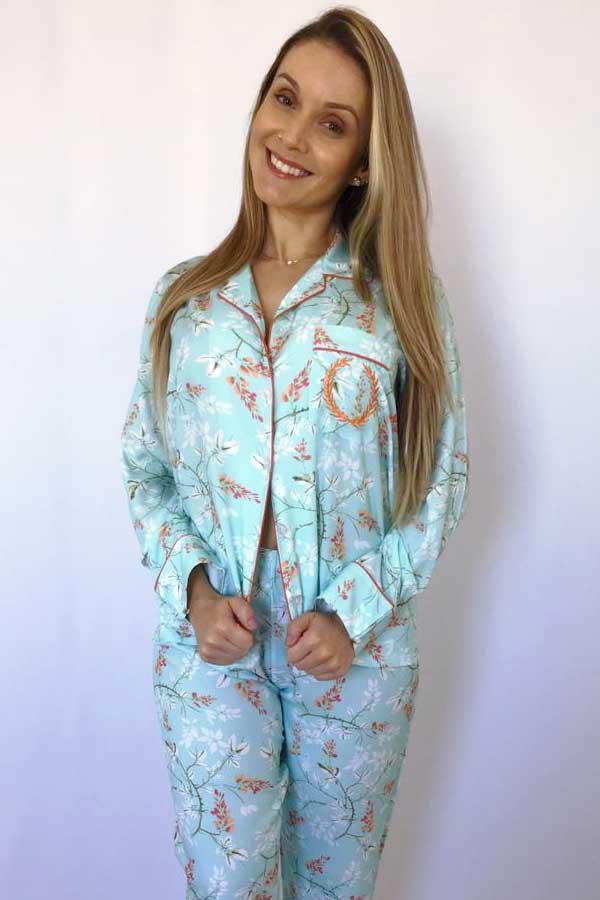 Pijama Feminino Longo Aberto Viscose Floral Verde Água