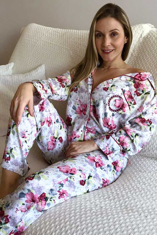 Pijama Feminino Longo Aberto Viscose Floral Vinho
