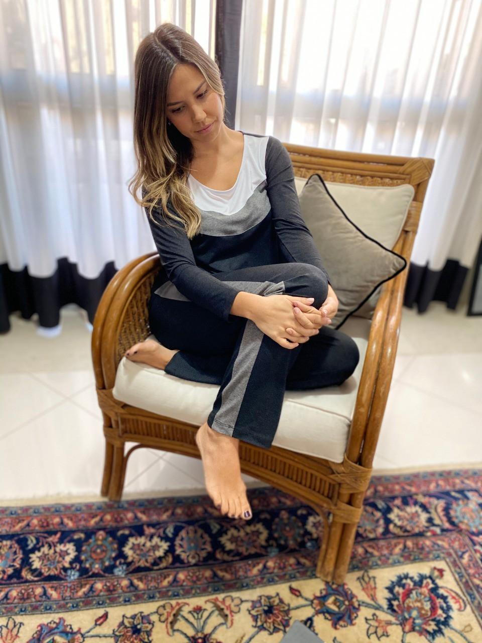 Pijama Feminino Longo Pala 3 Cores