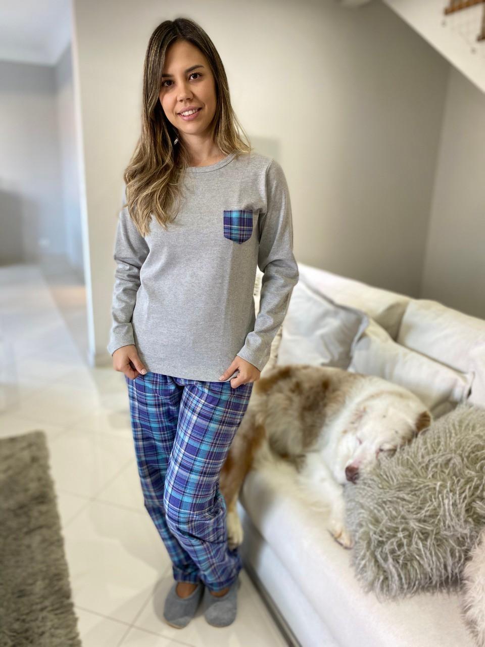 Pijama Feminino Longo Xadrez Cinza e Azul