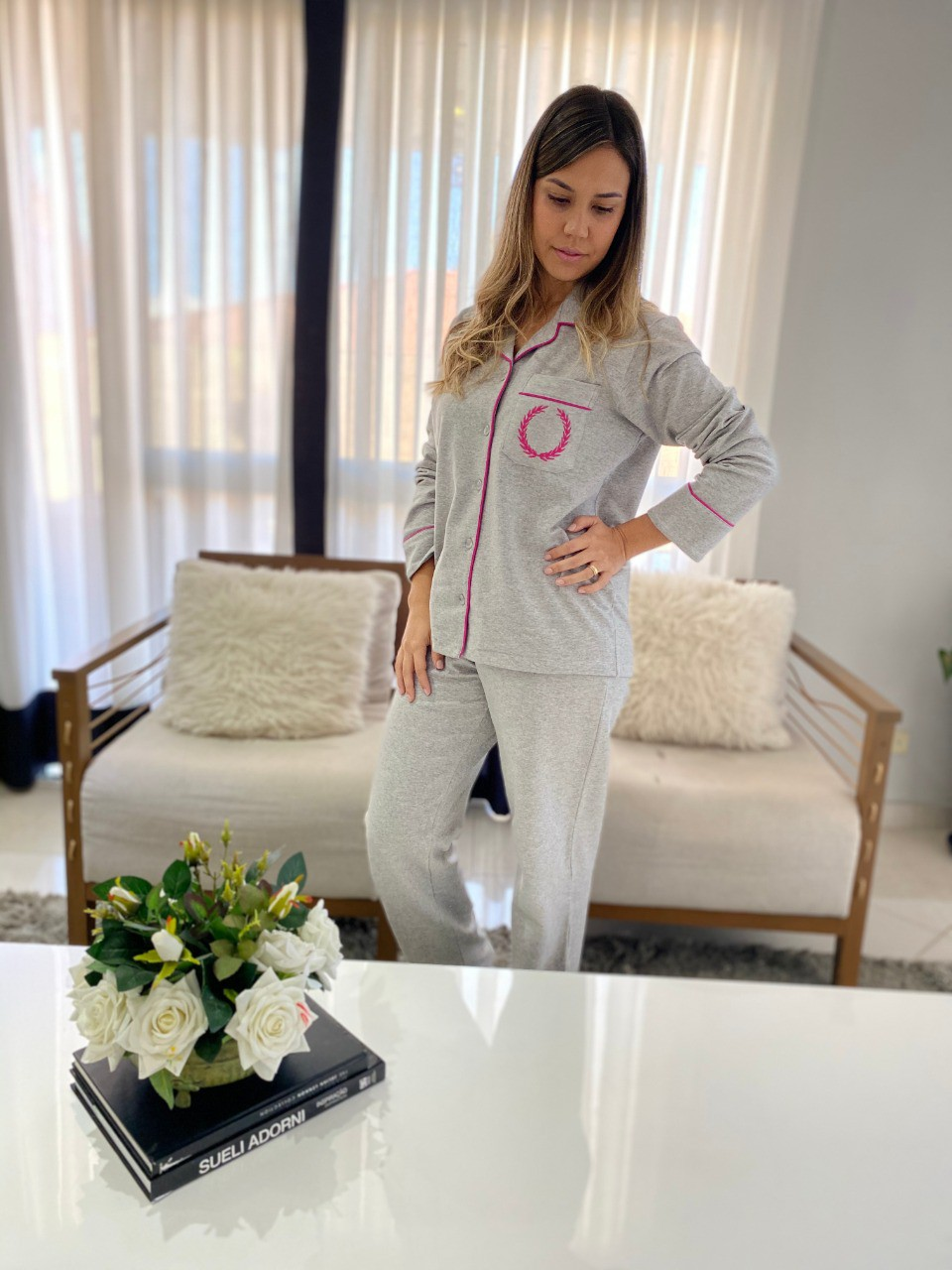 Pijama Feminino Moletinho Felpado Cinza