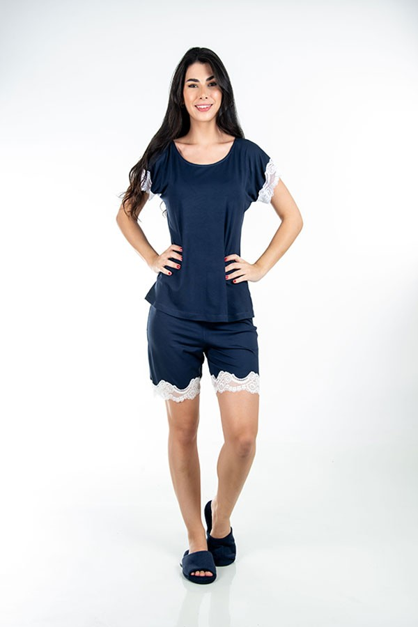 Short Pijama Curto Feminino de Renda