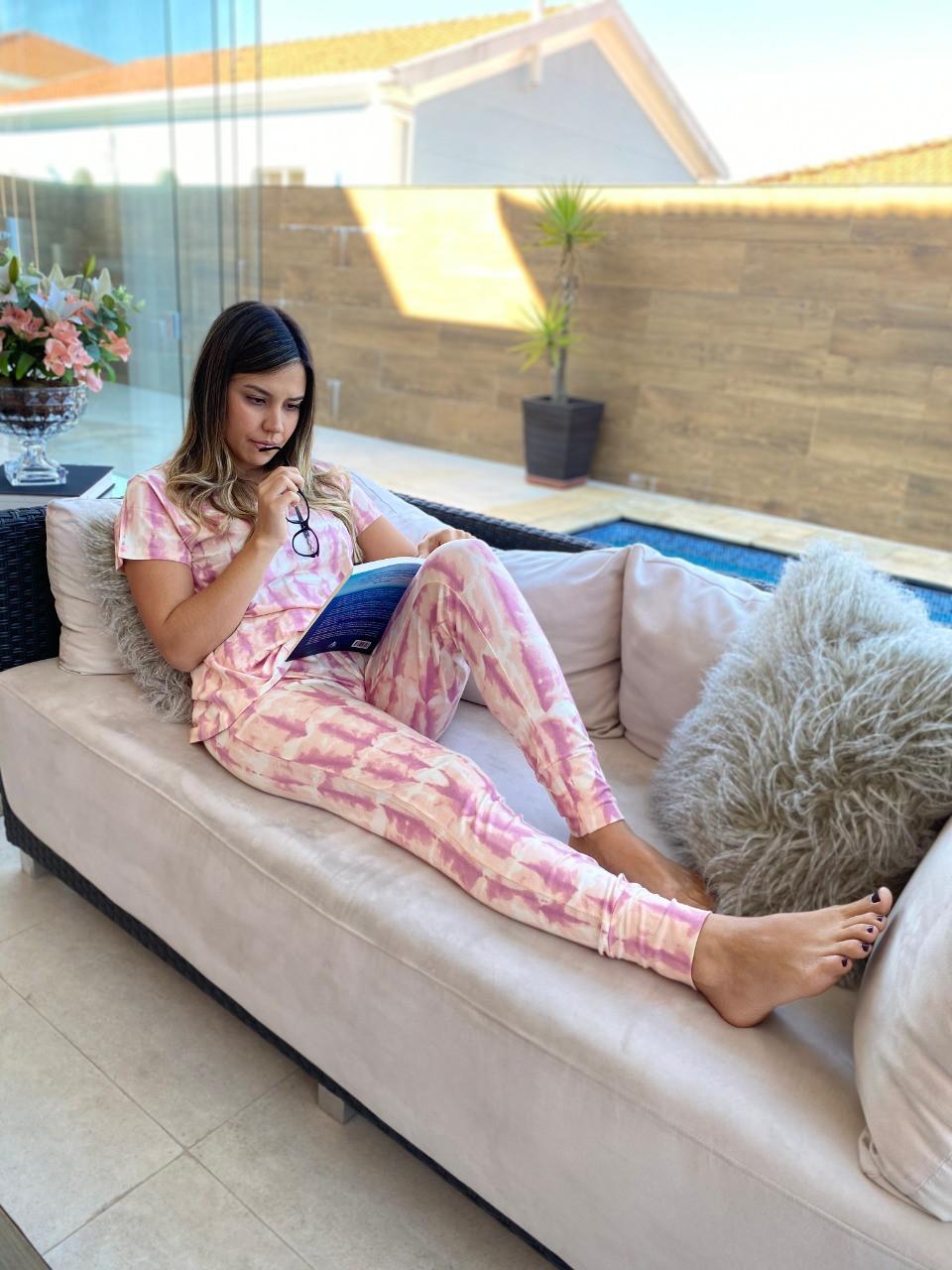 Pijama Feminino Tie Dye Rosa