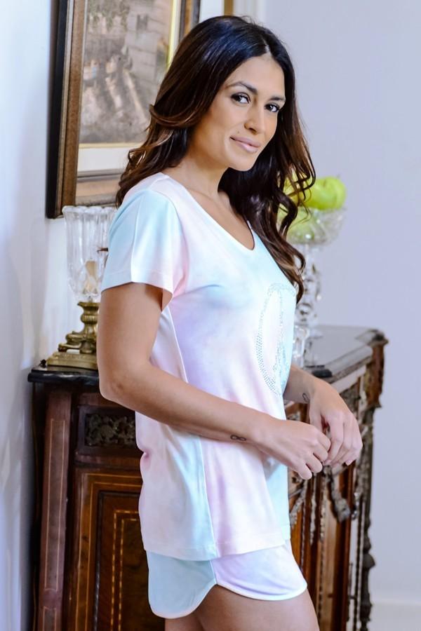 Pijama Femino Tie Dye com Strass