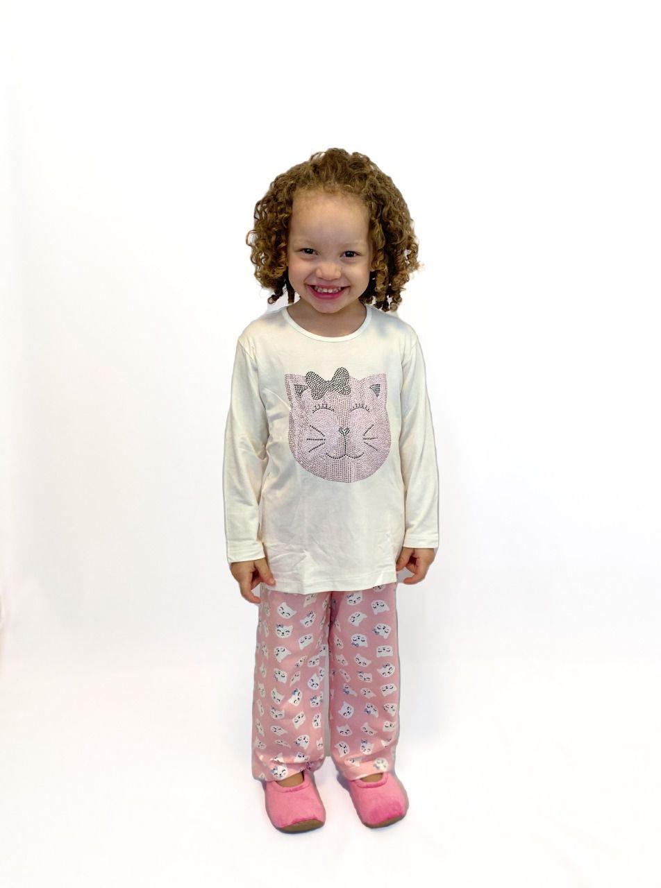 Pijama Infantil Feminino Gatinha Strass