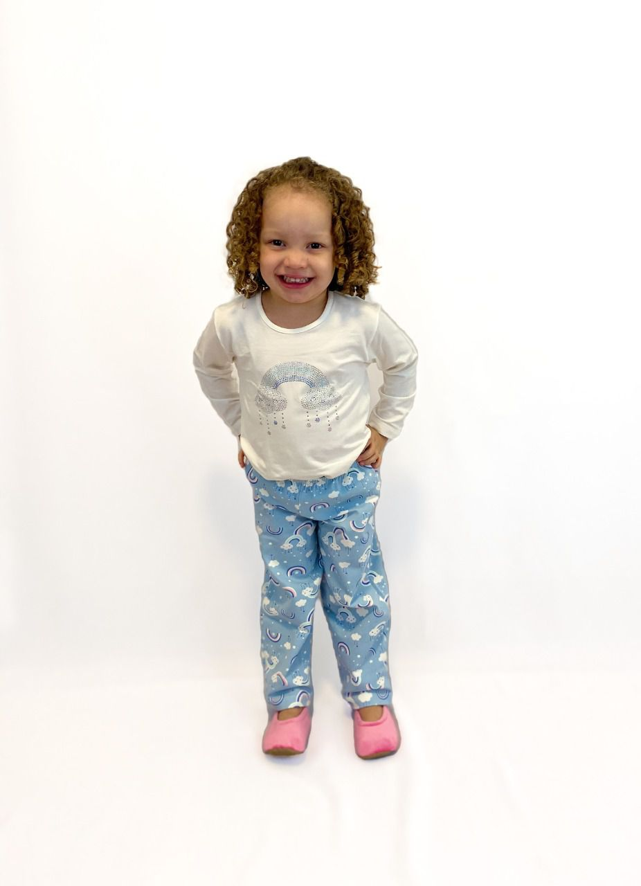 Pijama Infantil Feminino Nuvem Strass - Azul