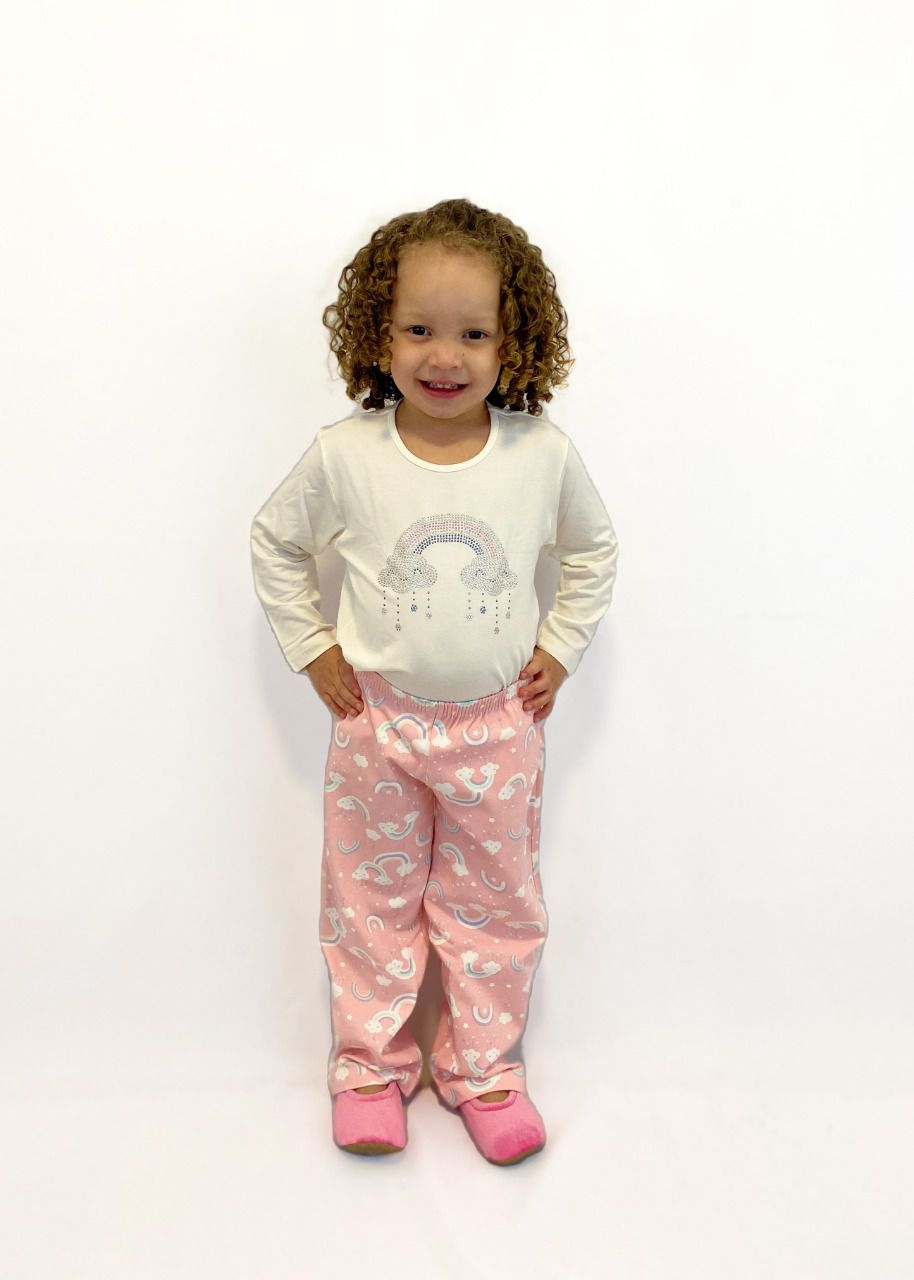 Pijama Infantil Feminino Nuvem Strass - Rosa