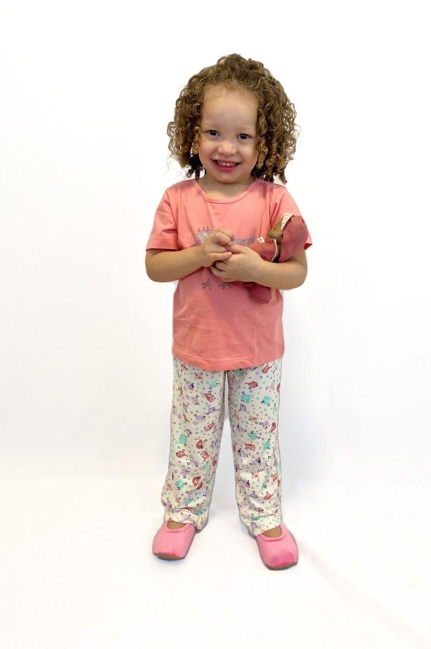 Pijama Infantil Feminino Passarinho Strass