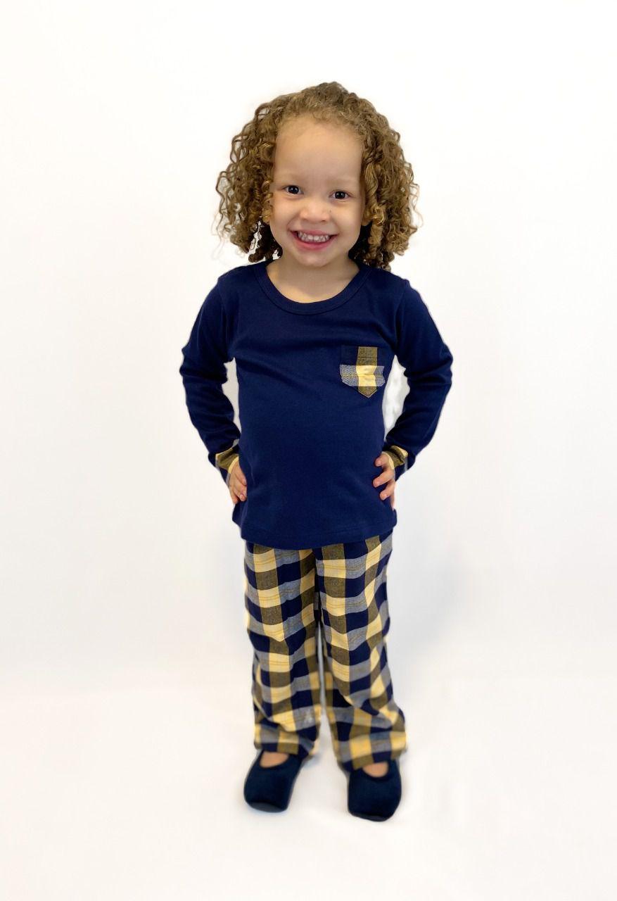 Pijama Infantil Feminino Xadrez Azul Marinho