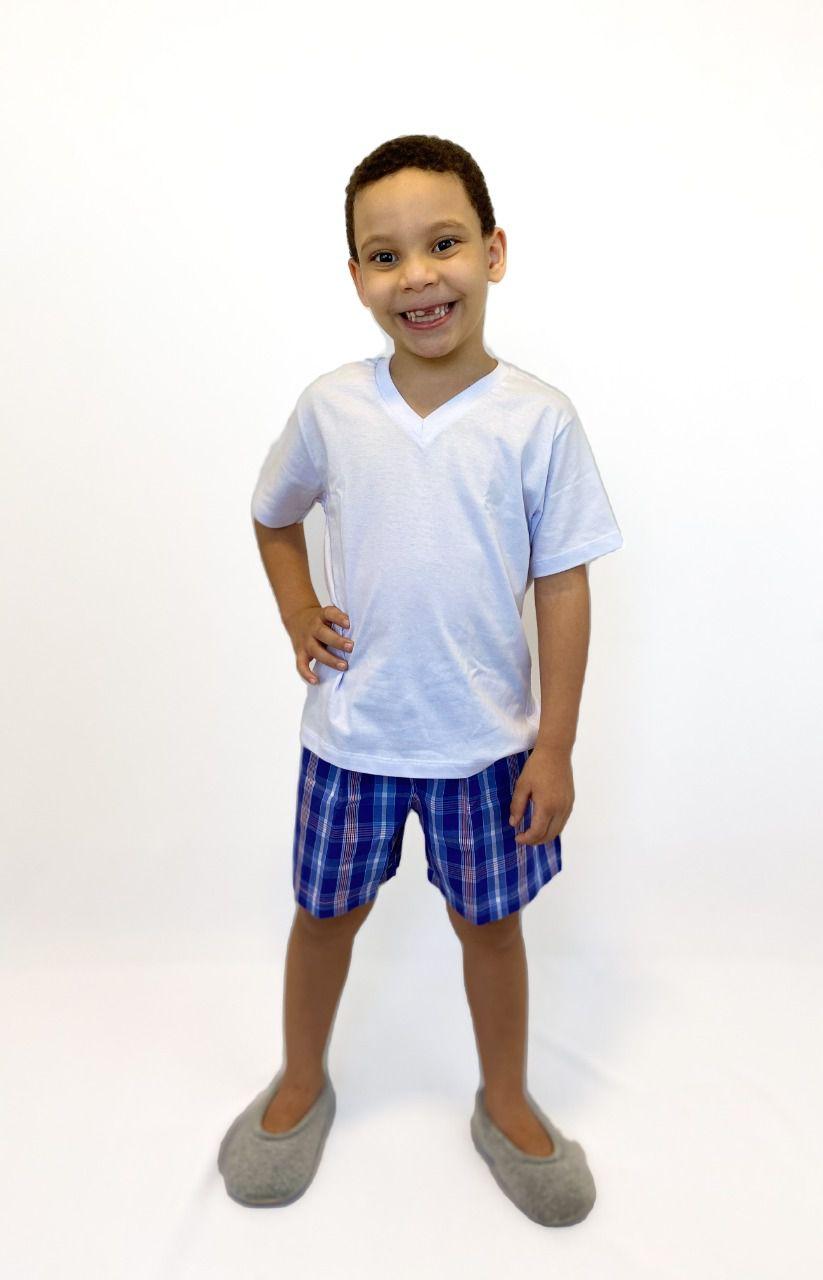 Pijama Infantil Masculino Curto Xadrez Azul