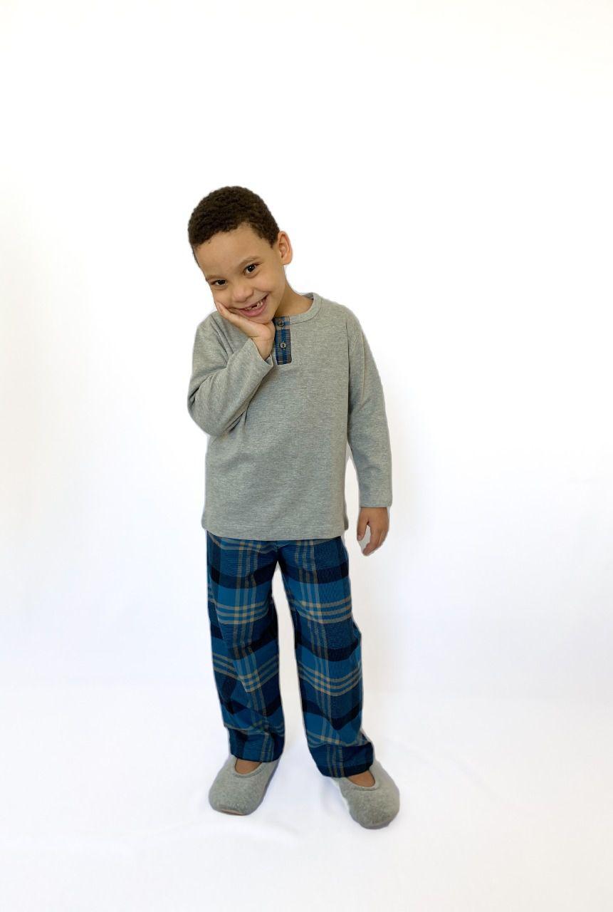 Pijama Infantil Masculino Longo Xadrez Azul
