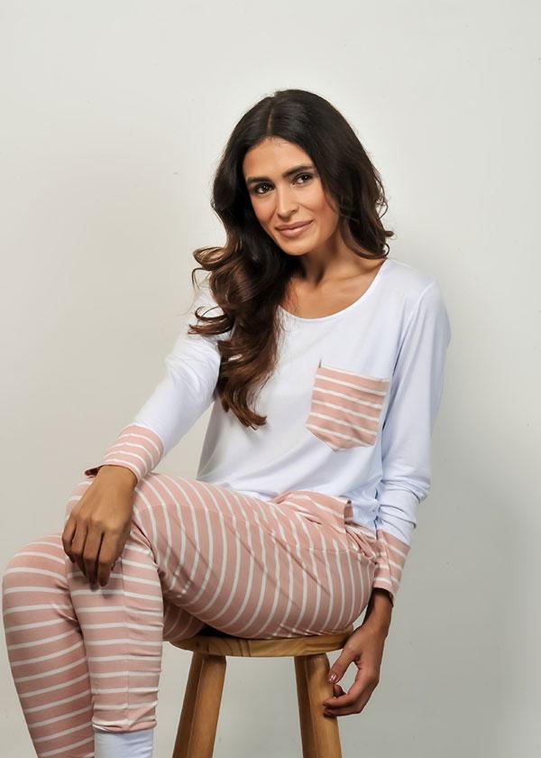 Pijama listrado com Calça Legging
