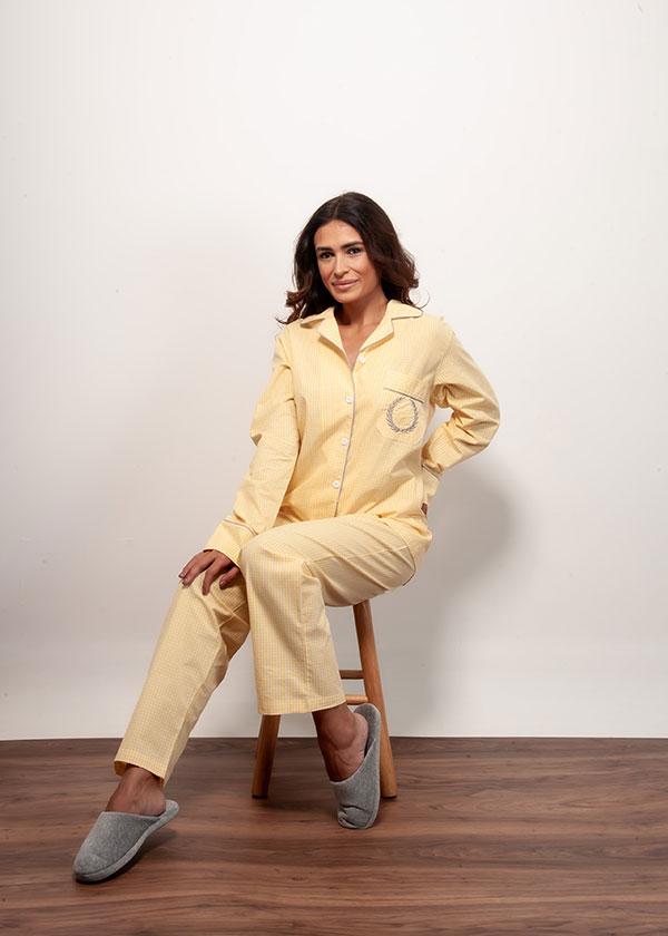 Pijama Loungewear Xadrez Amarelo