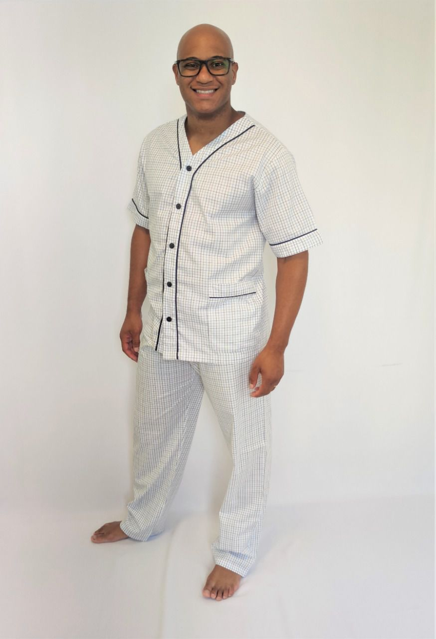 Pijama Masculino Aberto Calça e Manga Curta em Tricoline