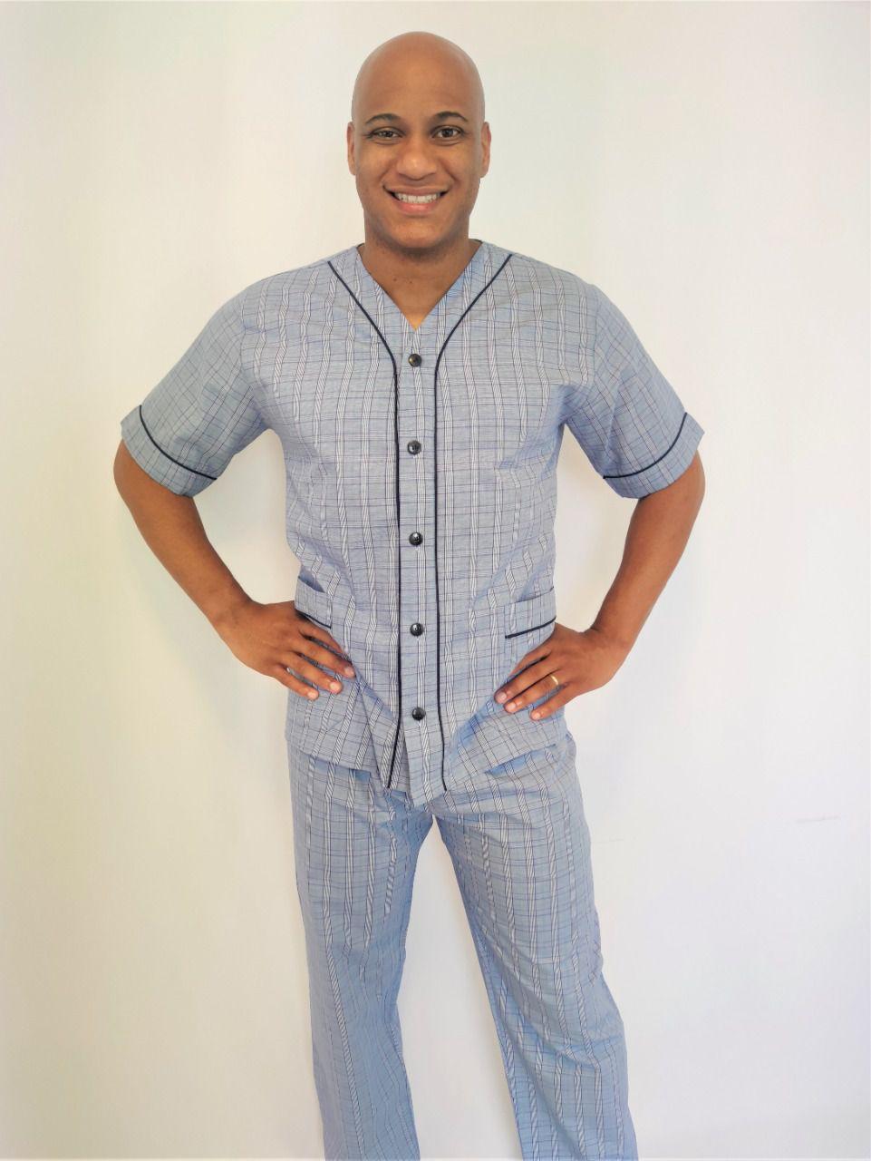 Pijama Masculino Aberto Calça e Manga Curta Tricoline Xadrez