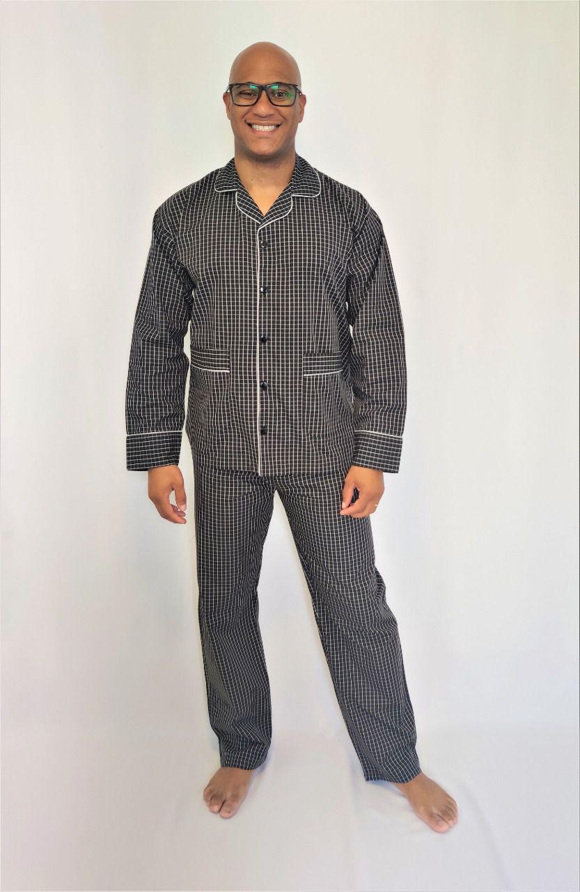 Pijama Masculino Aberto Longo em Tricoline Xadrez