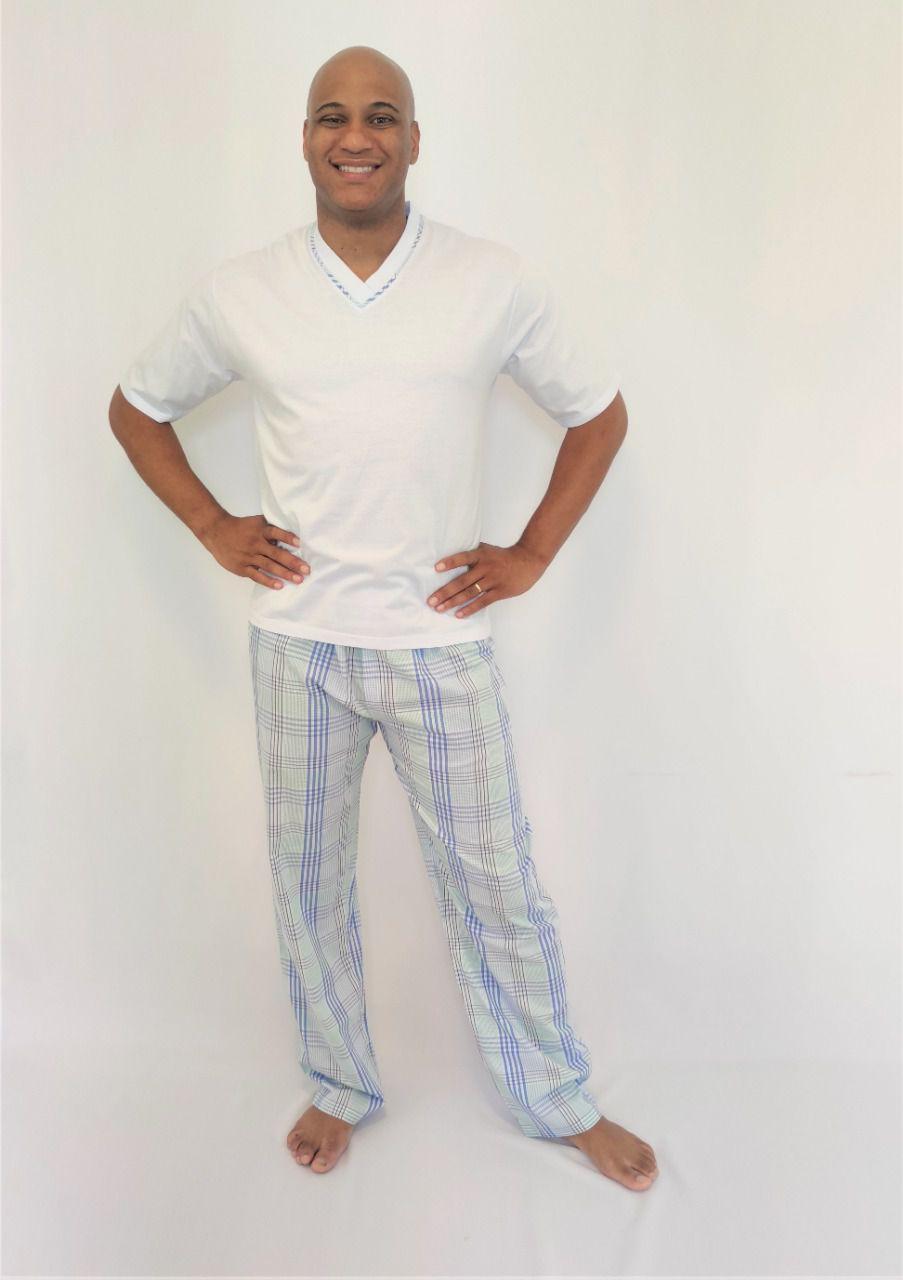 Pijama Masculino Calça Algodão e Blusa Manga Curta Malha