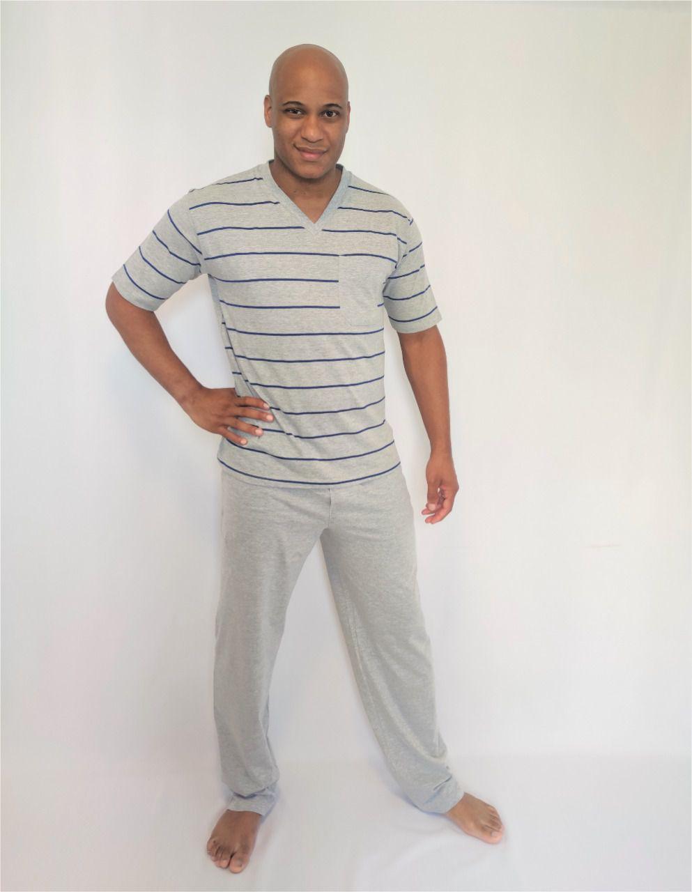 Pijama Masculino Calça e Blusa Manga Curta Listrada em Malha