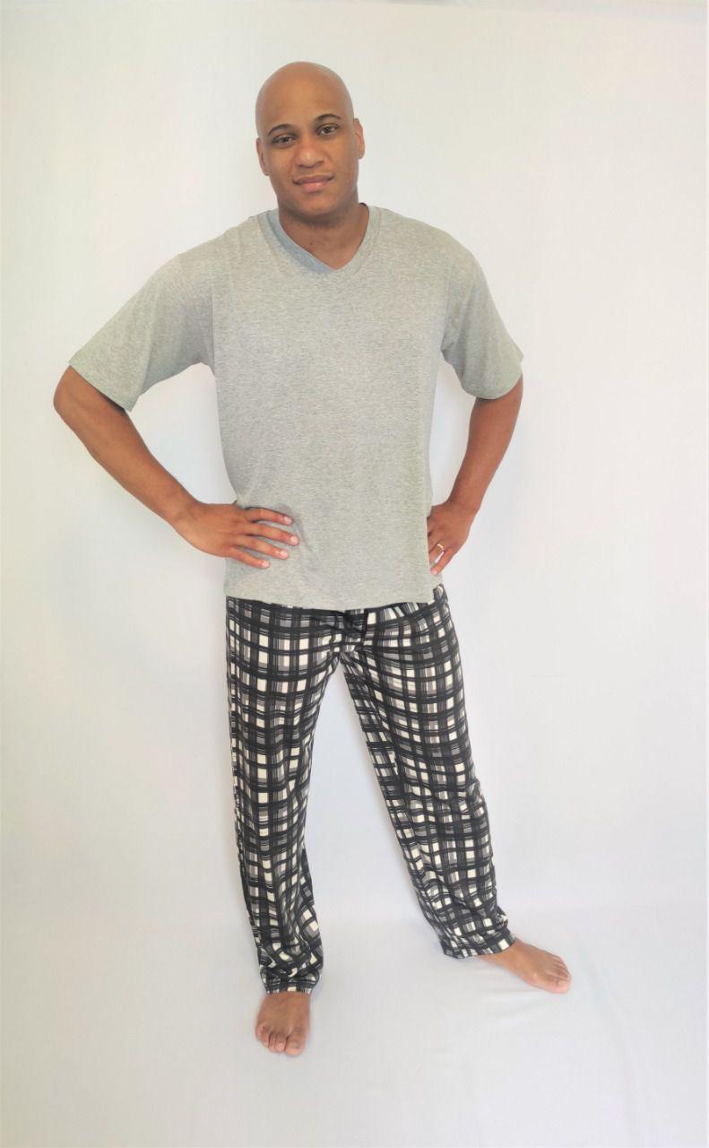 Pijama Masculino Calça Xadrez e Blusa Manga Curta em Viscolycra