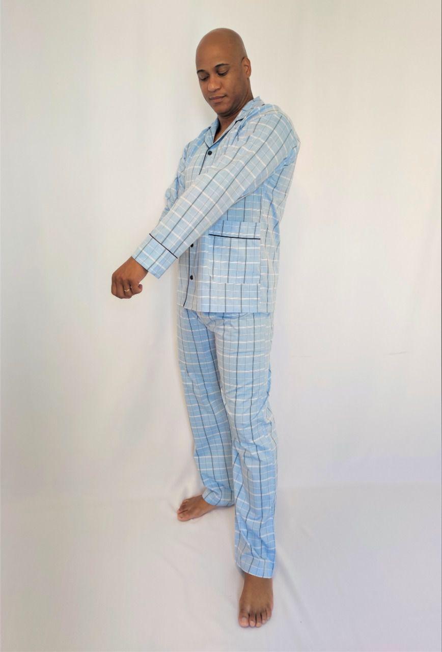 Pijama Masculino Longo Aberto de Tricoline