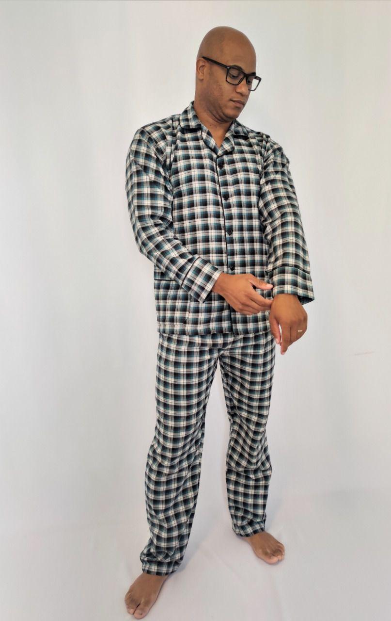 Pijama Masculino Longo Aberto Flanela Xadrez