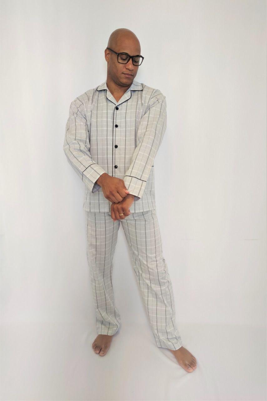 Pijama Masculino Longo Aberto Tricoline Xadrez
