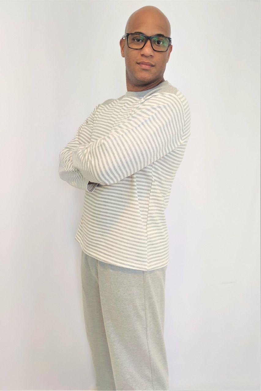 Pijama Masculino Longo em Suedine Listrado