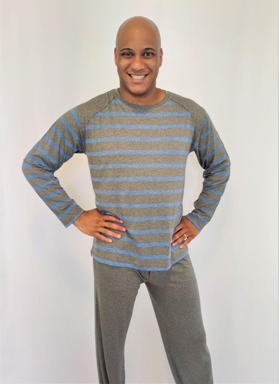Pijama Masculino Longo em Viscolycra Listrado