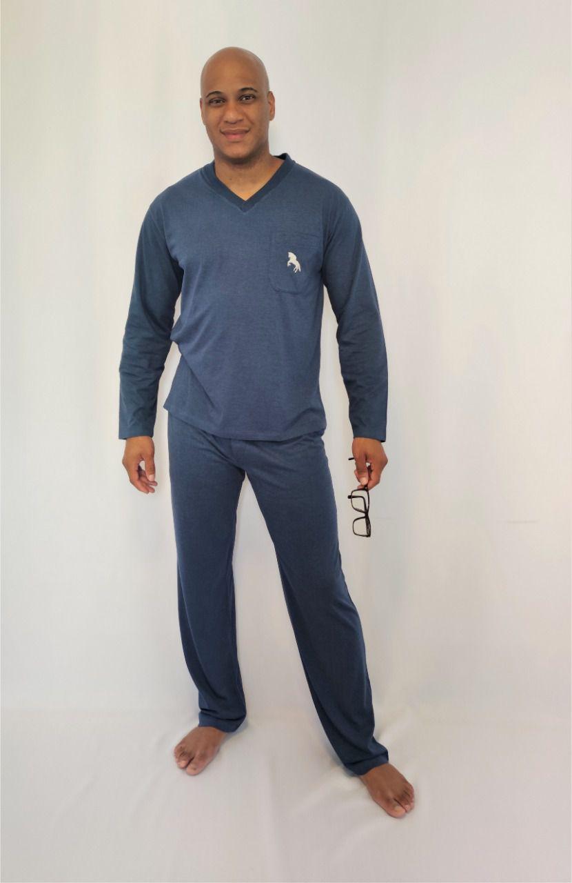 Pijama Masculino Longo Meia Malha Polo