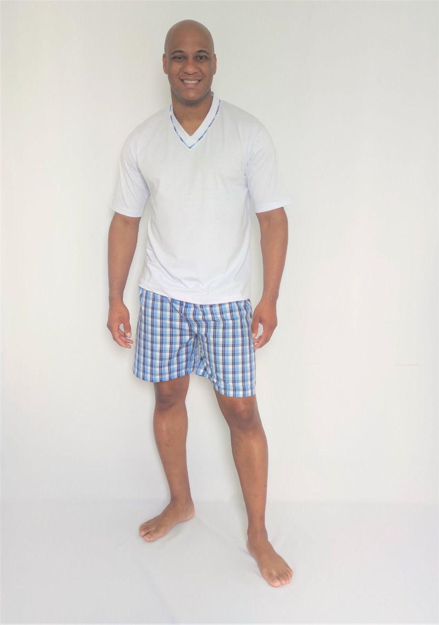 Pijama Masculino Short de Algodão e Blusa Malha
