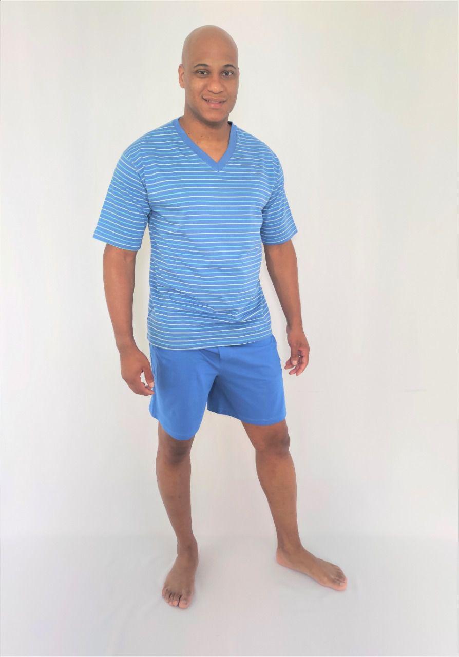 Pijama Masculino Short em Meia Malha Listrado