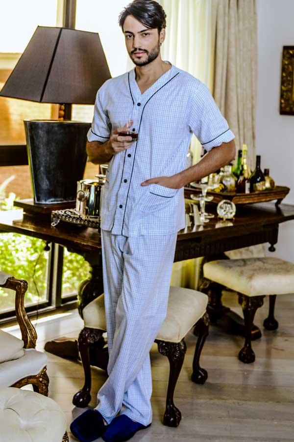 Pijama Masculino Aberto em Tricoline