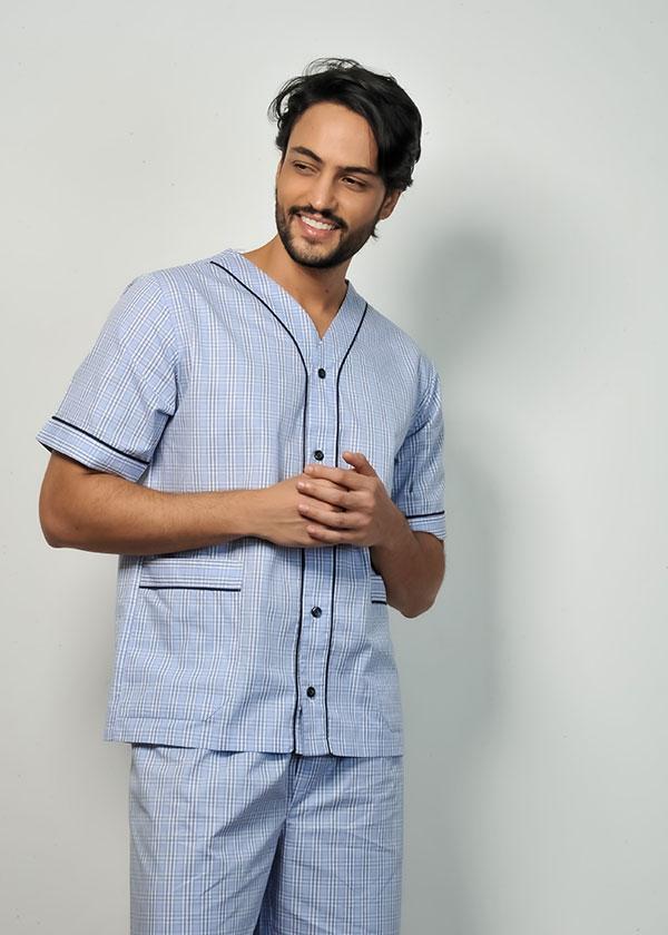 Pijama Masculino Aberto Xadrez Azul Claro
