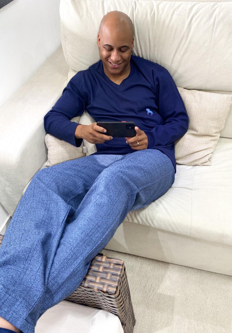Pijama masculino azul com calça cridélia