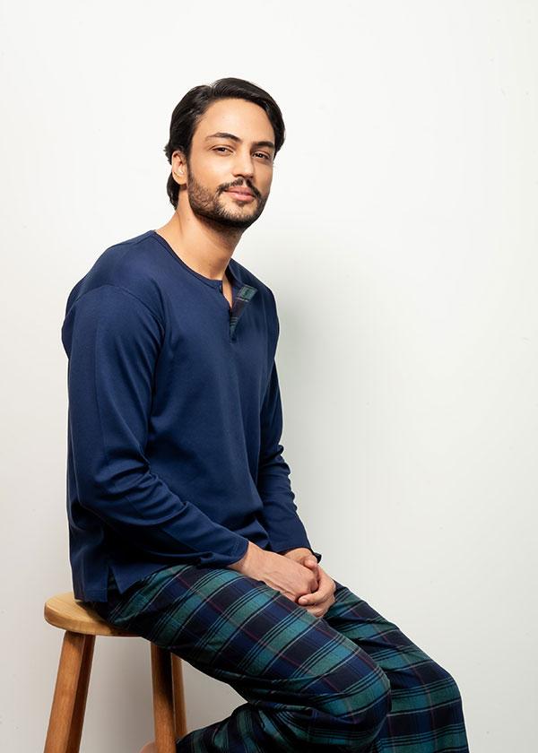 Pijama Masculino com Calça Flanela Azul