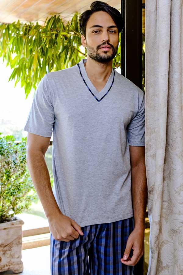 Pijama Masculino Curto de Algodão