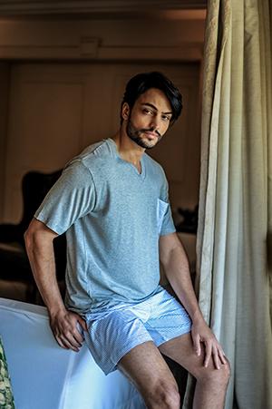 Pijama Masculino Curto Short Listrado