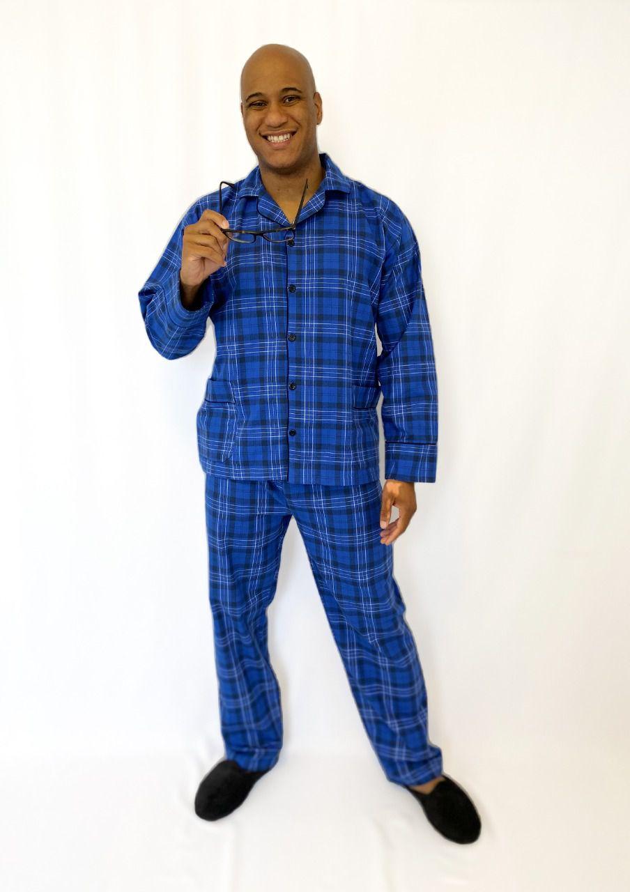 Pijama Masculino Longo Aberto de Flanela Xadrez Azul