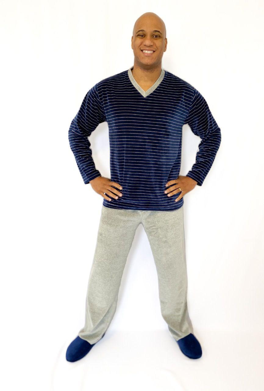 Pijama Masculino Longo de Listras Plush
