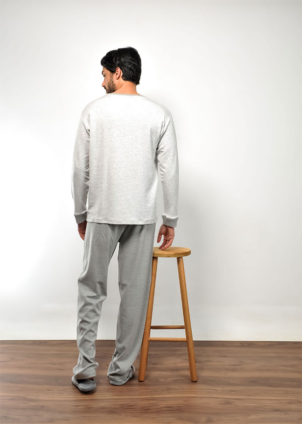 Pijama Masculino Longo de Suedine Listrado